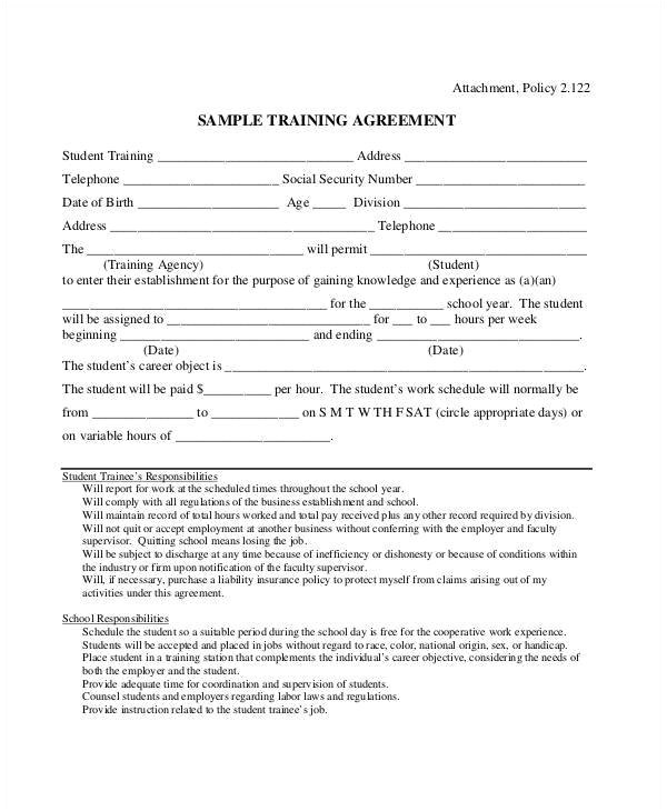 sample training contract templates