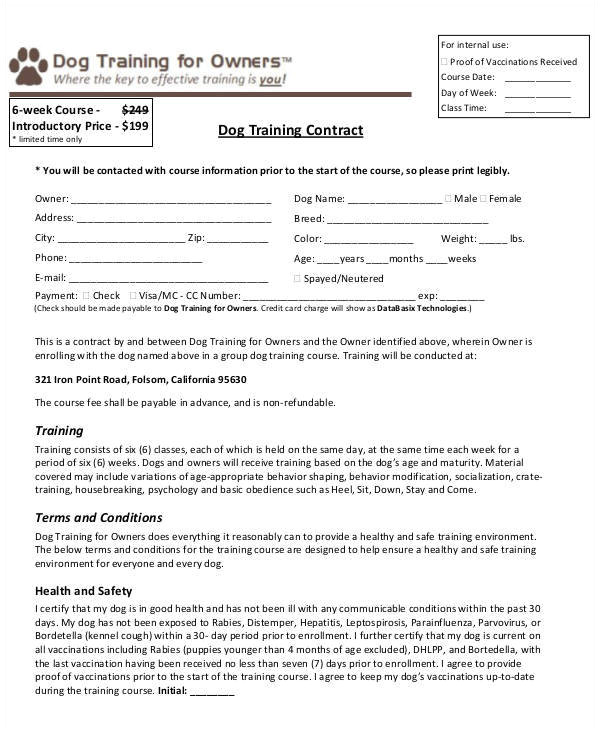 Dog Training Contract Template 9 Training Contract Samples Templates In Pdf