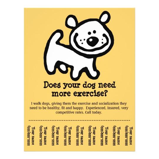 cute dog walking promotion tear sheet flyer y flyer 244456294124099464