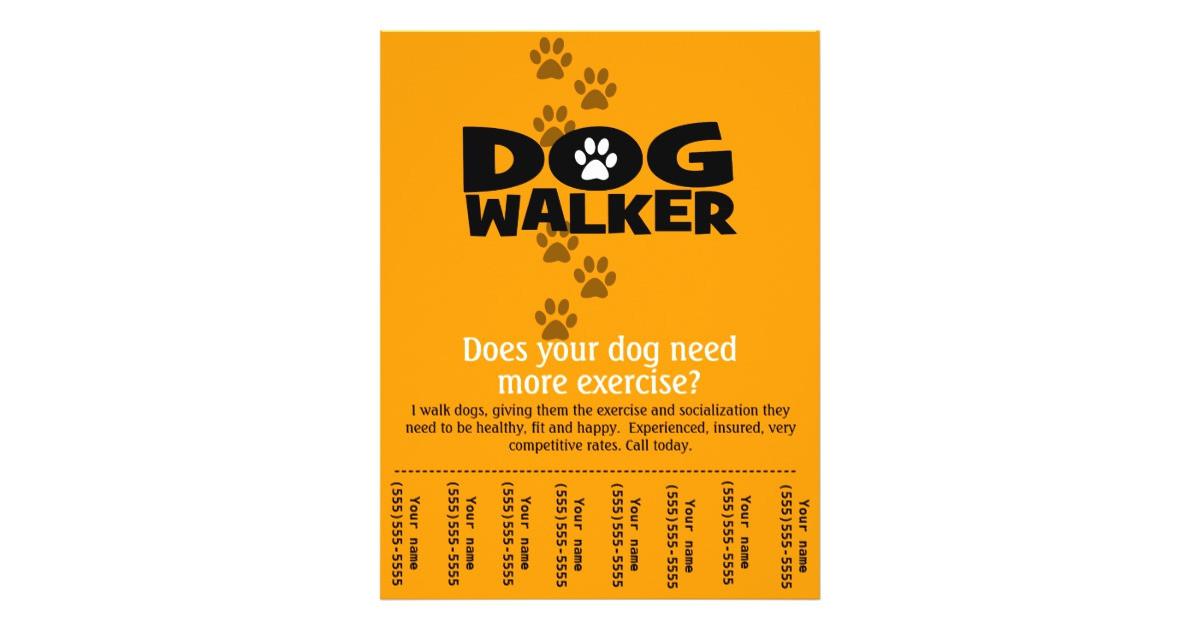 dog walking business tear sheet flyer template 244675328149088322