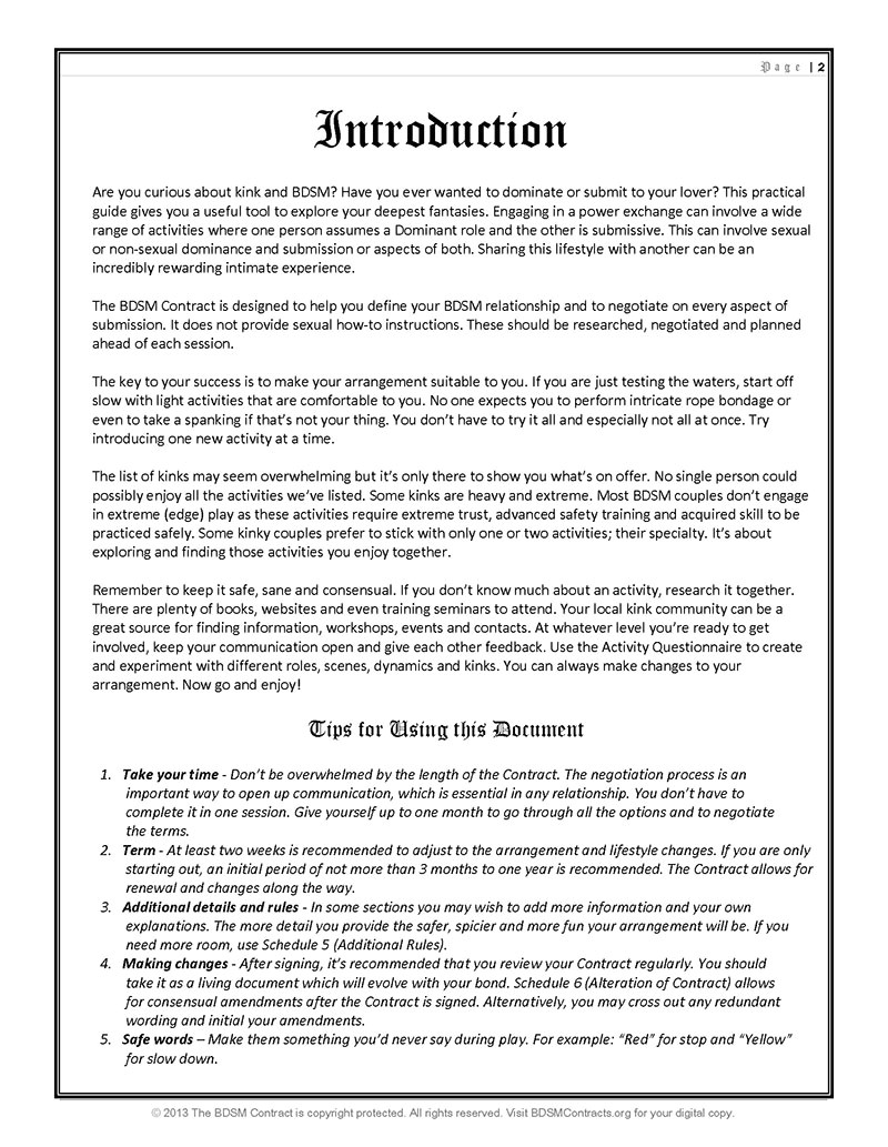 Dom Sub Contract Template Bdsm Dominant Submissive Contract