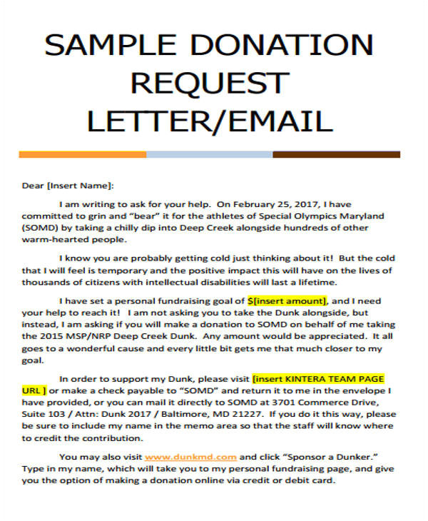 donation letter example