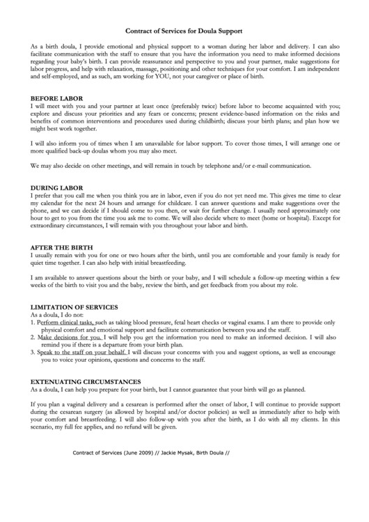 contract of services for doula support