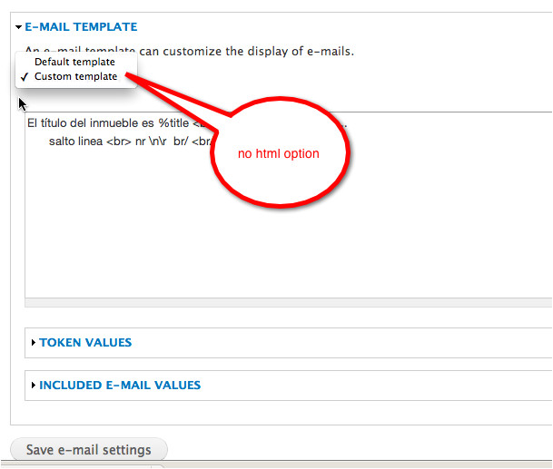 how to set html email template for webform email setting