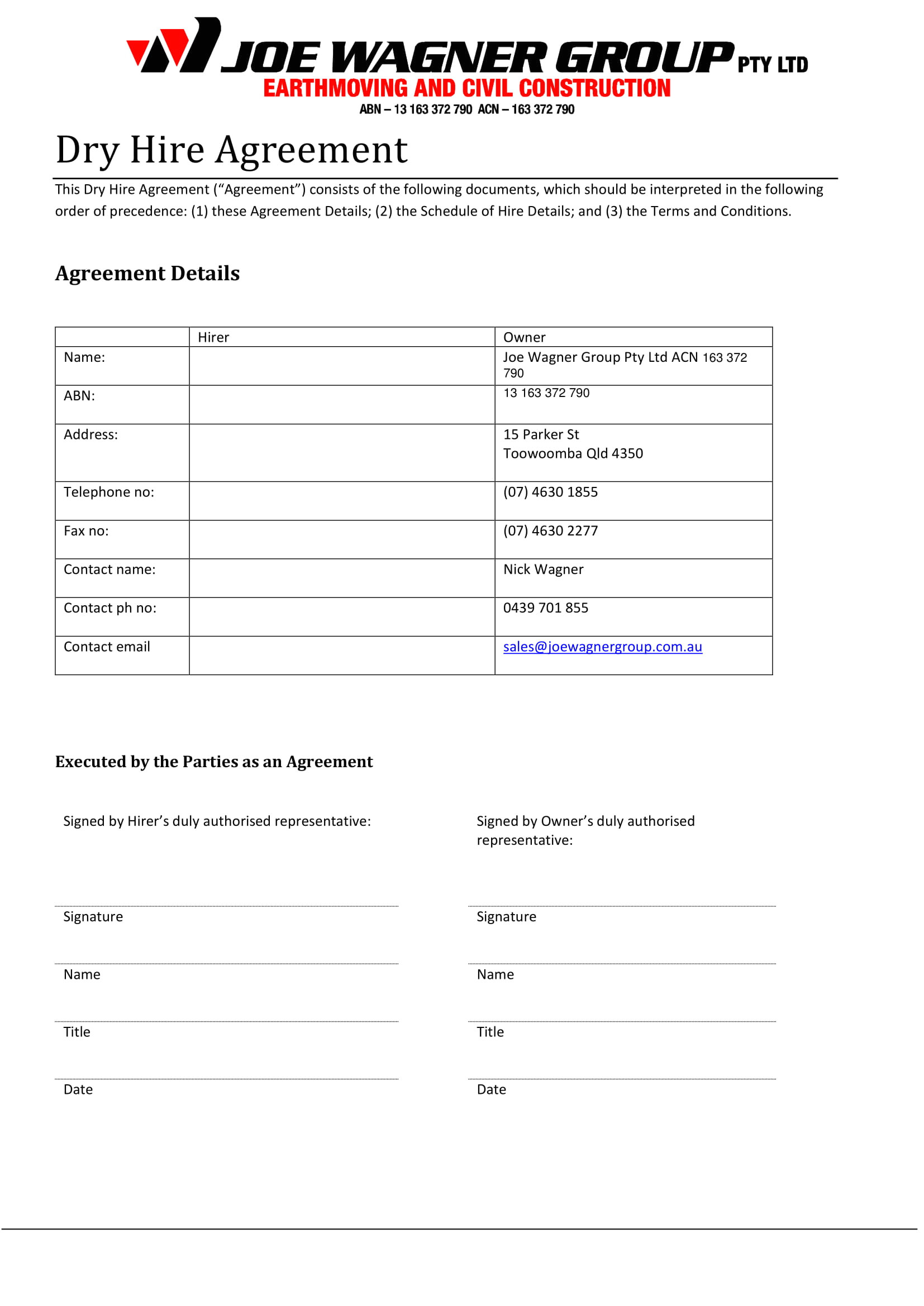 Dry Hire Contract Template 10 Hire Agreement Contract forms Pdf Doc