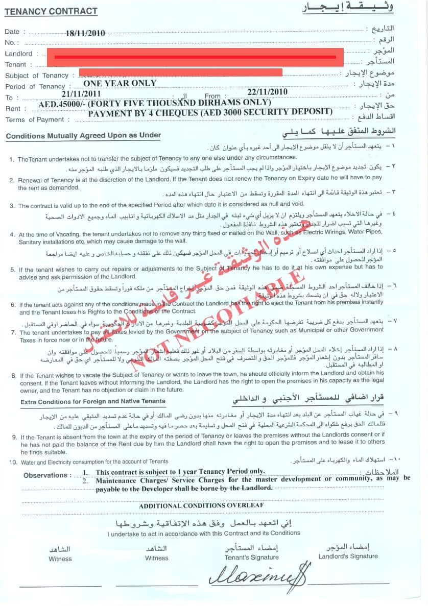 how do i get my tenant in dubai to pay his rent if his cheques are bad bwana share email