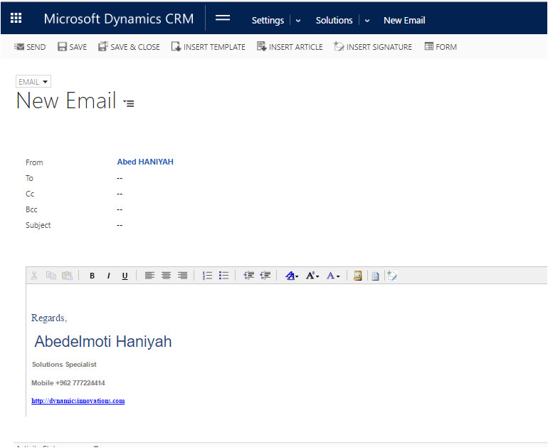 add email signatures dynamics crm