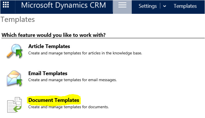 document templates in crm 2016 7