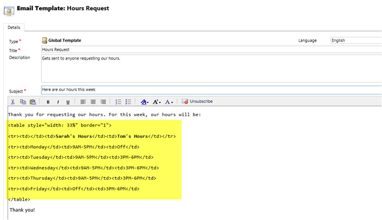 using html format text email templates dynamics crm