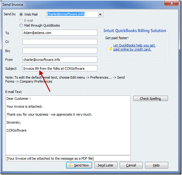 inserting the invoice number in a quickbooks email