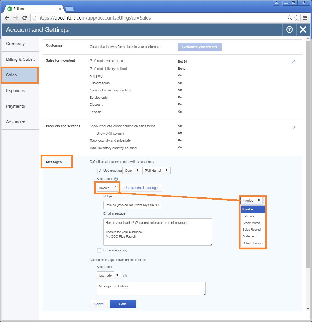 how do i change the default email template quickbooks online