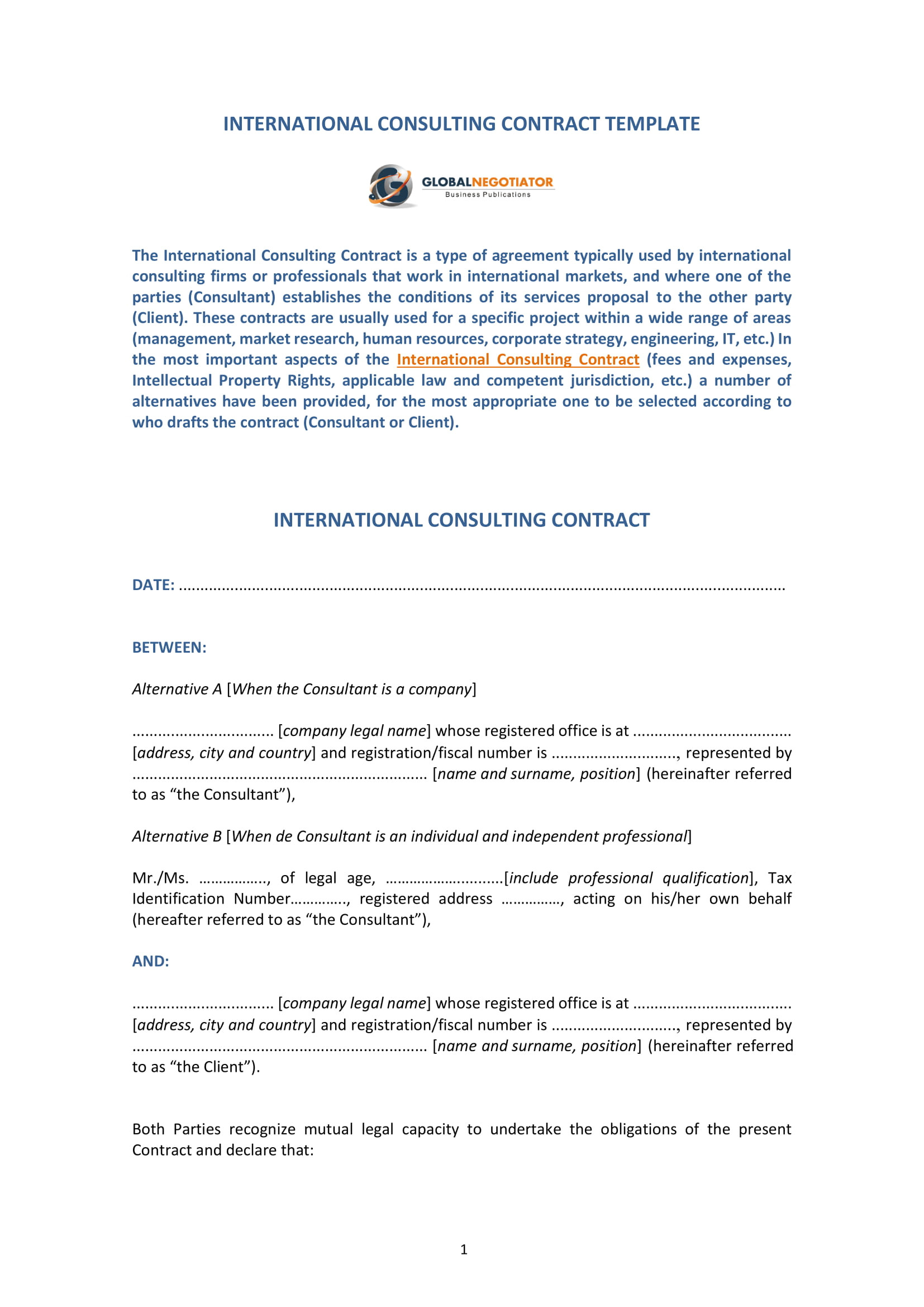 consulting contract forms