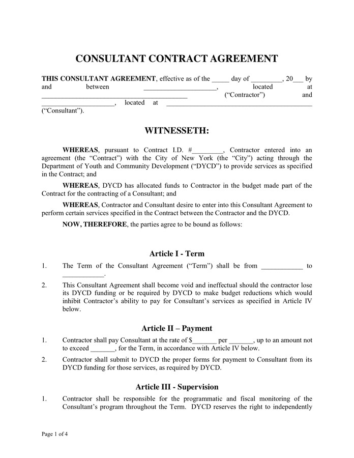 consultant contract agreement 1