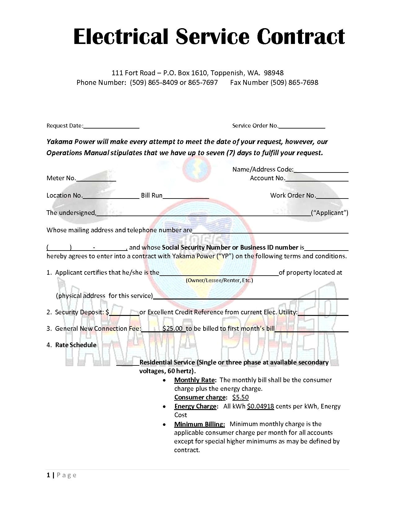 29563 electrical contractor service agreement template