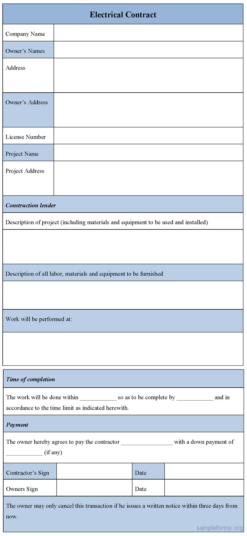 electrical contract form
