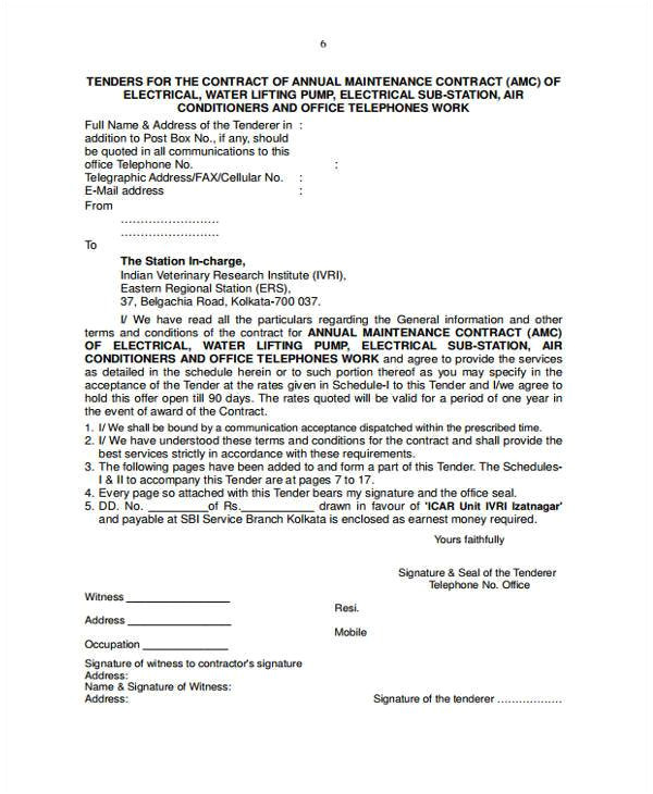 maintenance contract form