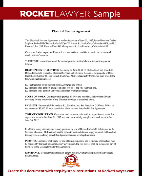 Electrical Work Contract Template Electrical Service Contract Agreement with Sample