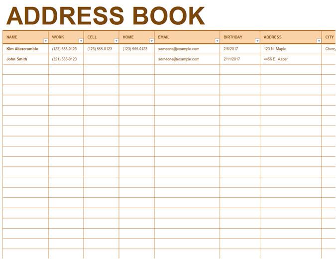 Email Address Book Template Address Book