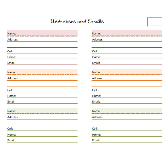 address book example