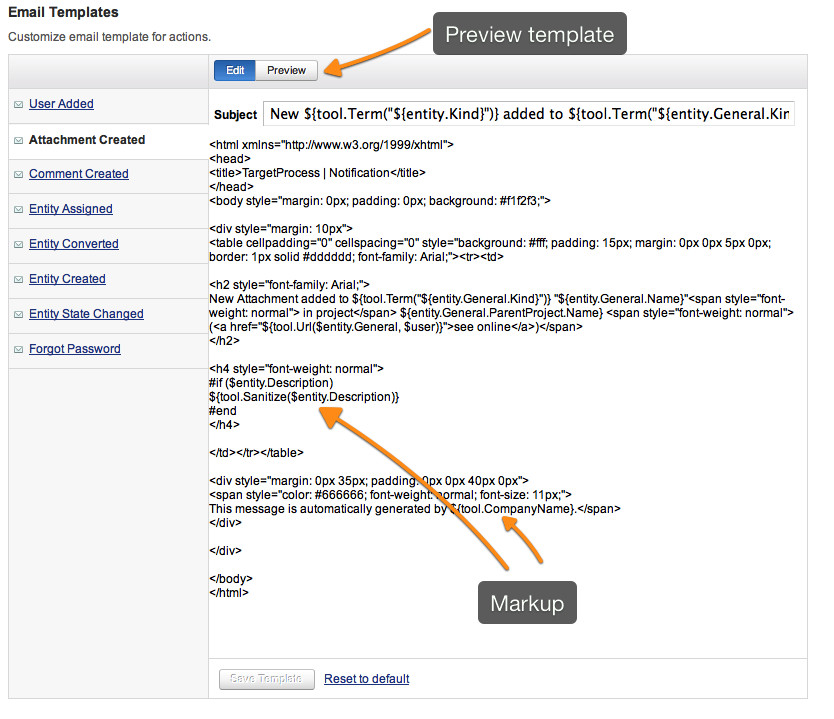 how to change an email notification template