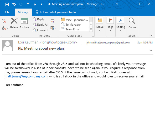 create an out of office autoreply in outlook