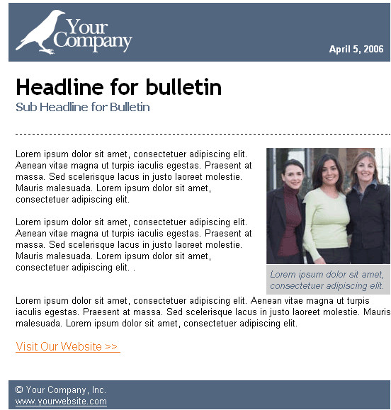 sample contemporary bulletin email