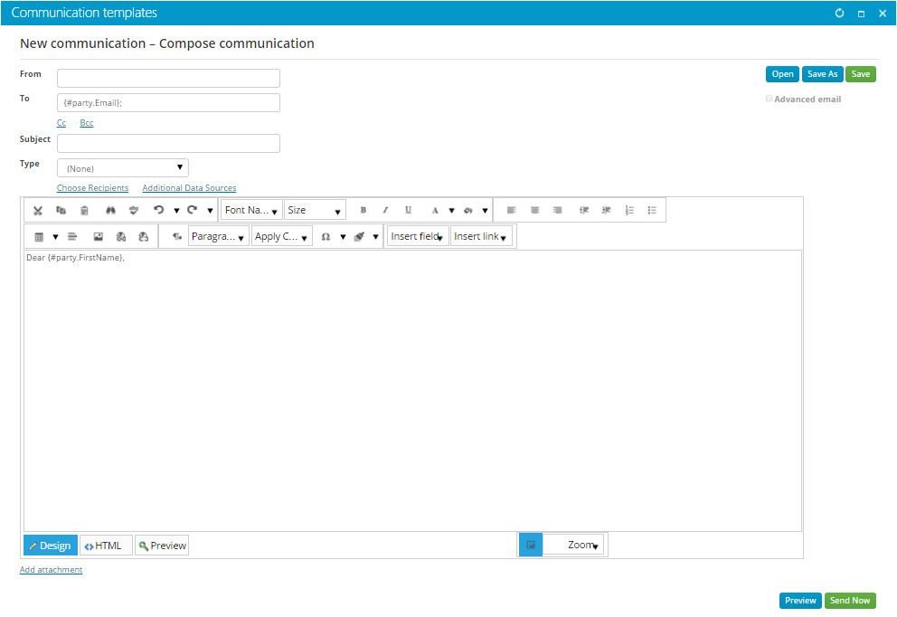 creating email communication templates