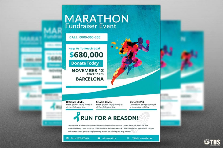 Email Flyer Templates Photoshop Marathon Fundraiser Photoshop Flyer Template
