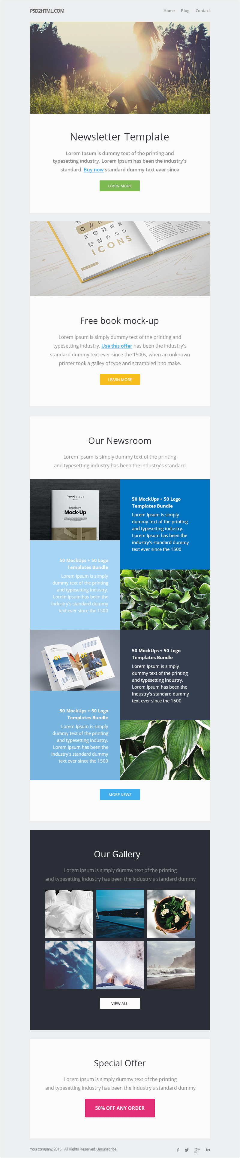 free newsletter template psd html
