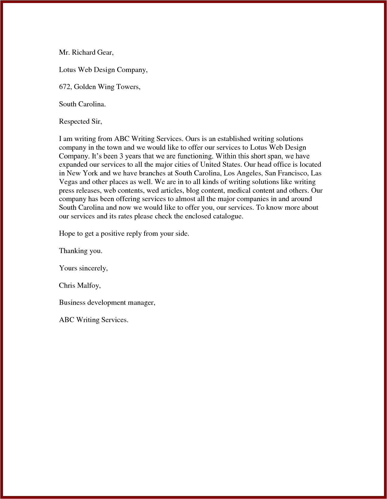 Email Offering Services Template Proposal Letter to Offer Services Scrumps