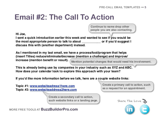 precall email templates