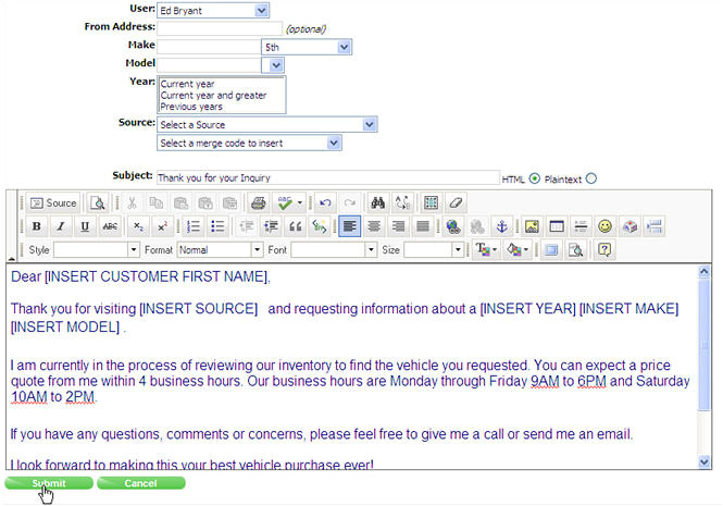 auto response email template