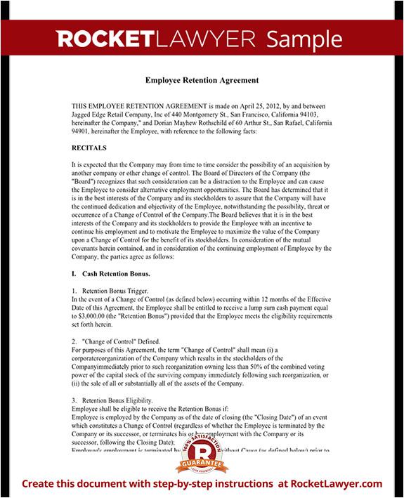 employee retention agreement rl