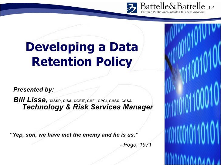 issa data retention policy development