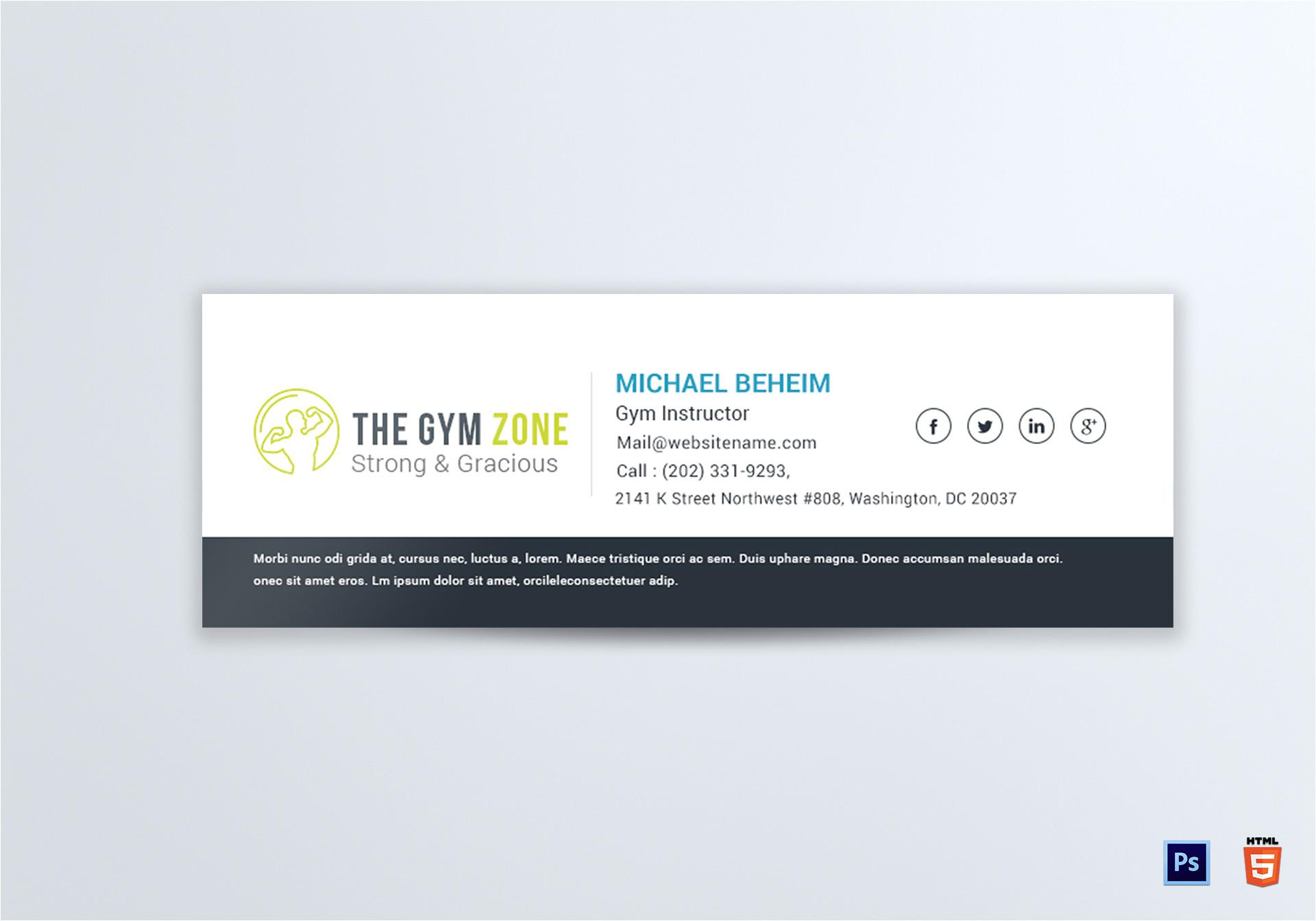 gym email signature