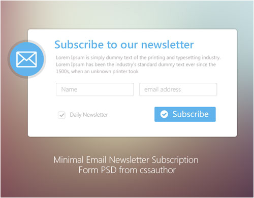 Email Subscription Template 20 Free Newsletter Subscription form Templates Psd