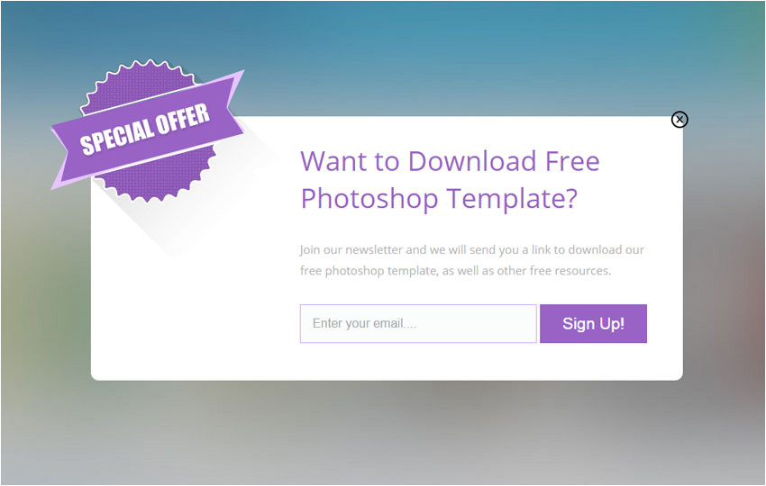 flat popup email subscription design template