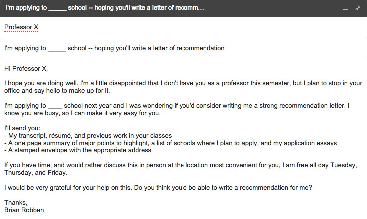 how to request a letter of recommendation for grad school