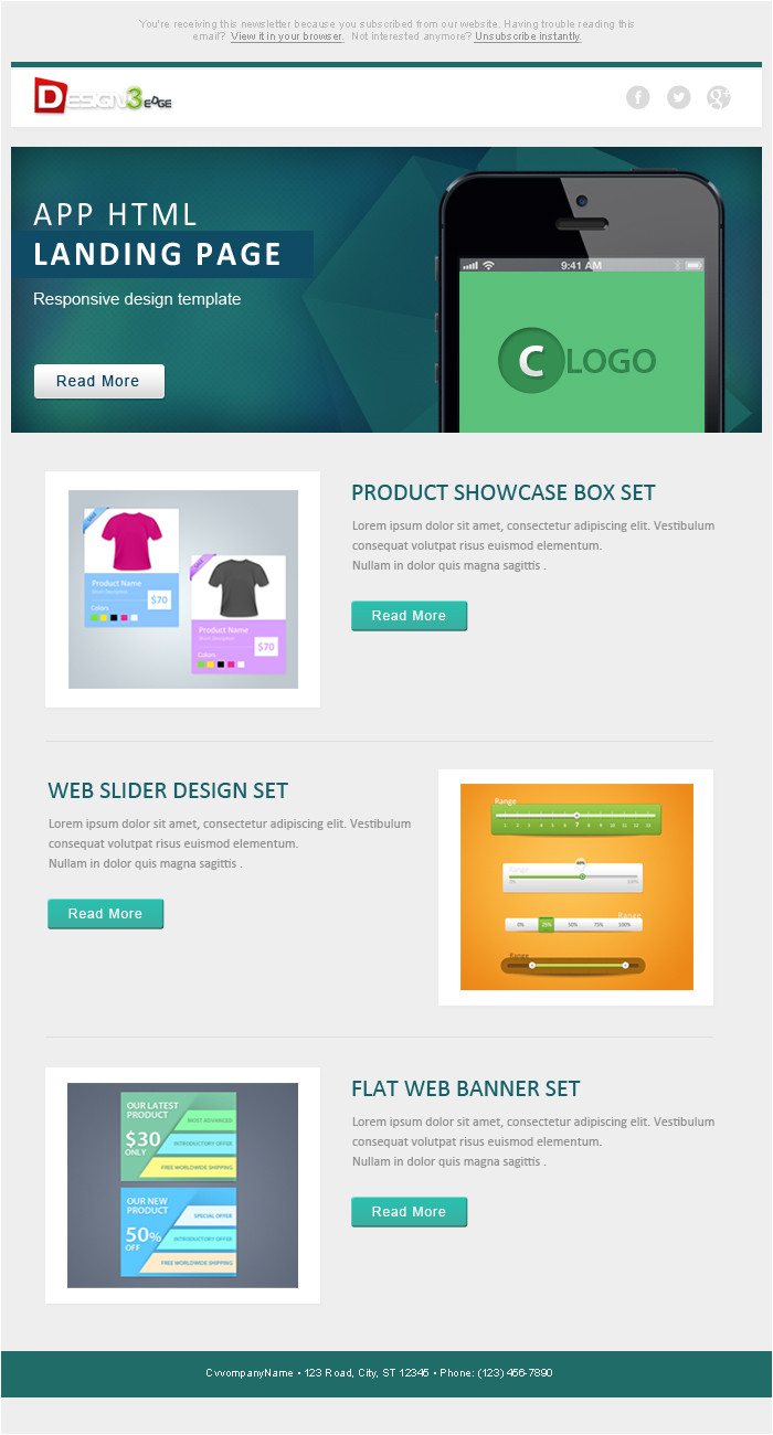 flat email template design