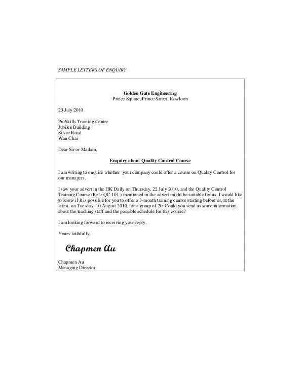 business enquiry letter