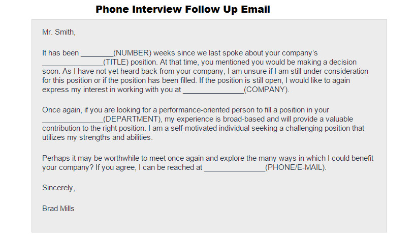 phone interview follow up email template