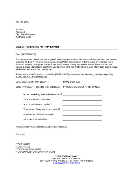 educational reference check letter d570