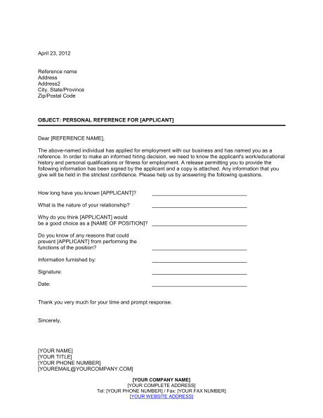 personal reference check letter d599