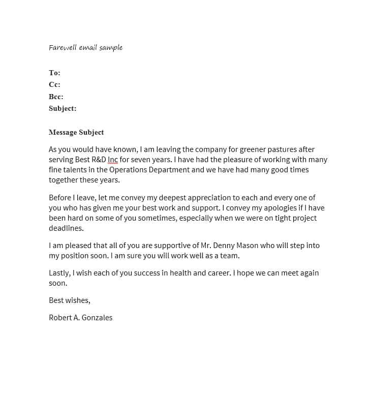Email Template for someone Leaving the Company 40 Farewell Email Templates to Coworkers ᐅ Template Lab