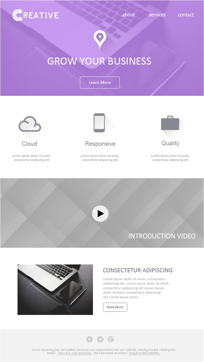 business email template design