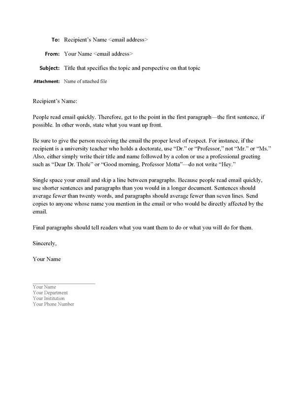 Email Template Guidelines Sample Email format Writing Guidelines for Engineering
