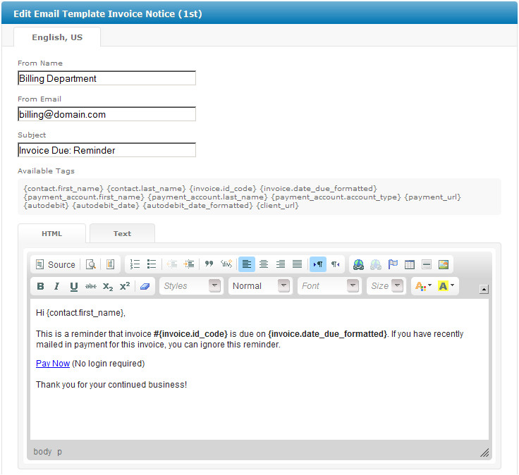 15 email template invoice attached