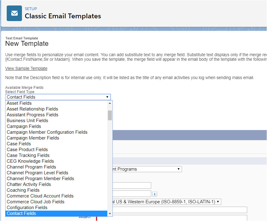 email template on custom object