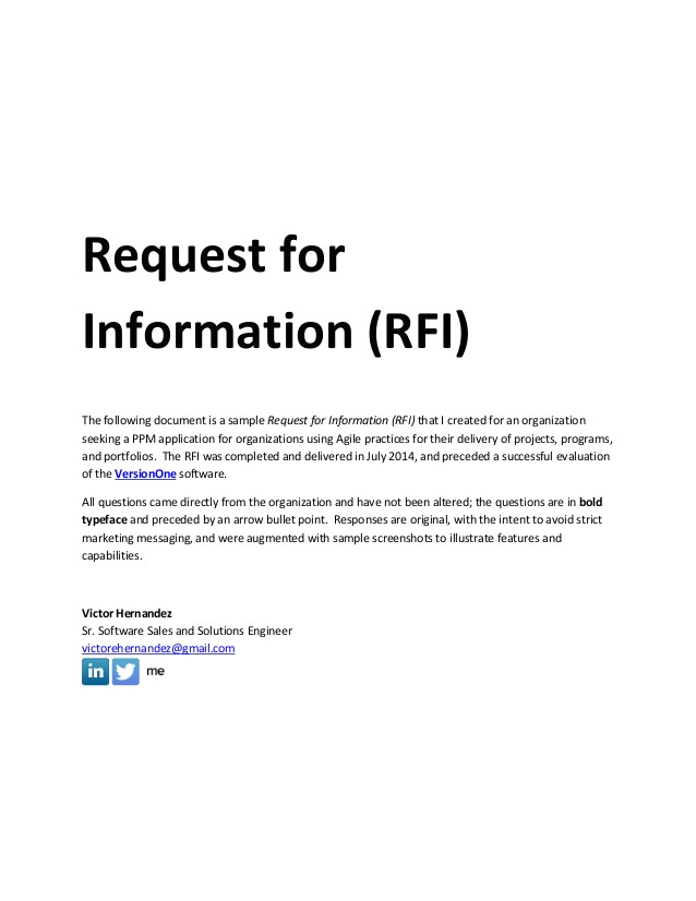 sample request for information rfi document