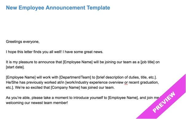 new employee announcement template